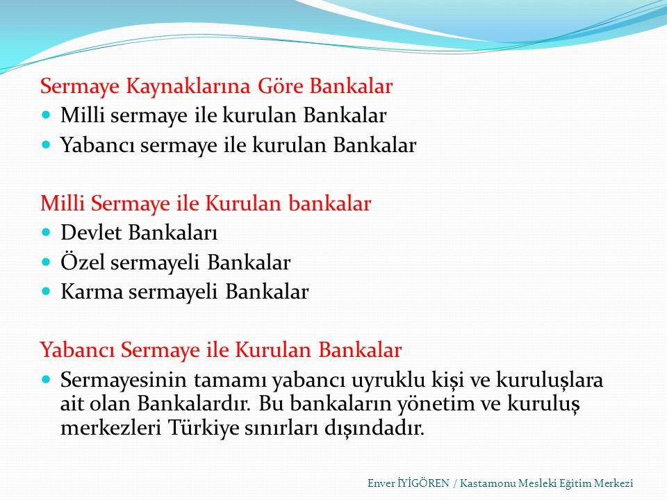 Sermaye Kaynaklarına Göre Bankalar Milli sermaye ile kurulan Bankalar
