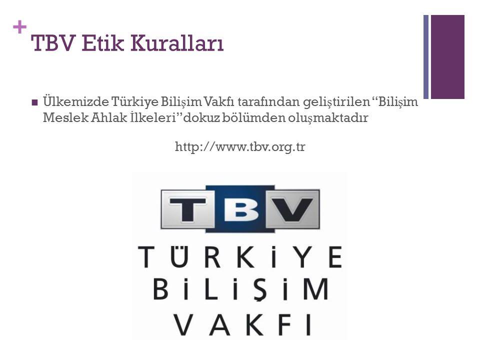 TBV Etik Kuralları Ülkemizde Türkiye Bilişim Vakfı tarafından geliştirilen Bilişim Meslek Ahlak İlkeleri dokuz bölümden oluşmaktadır.