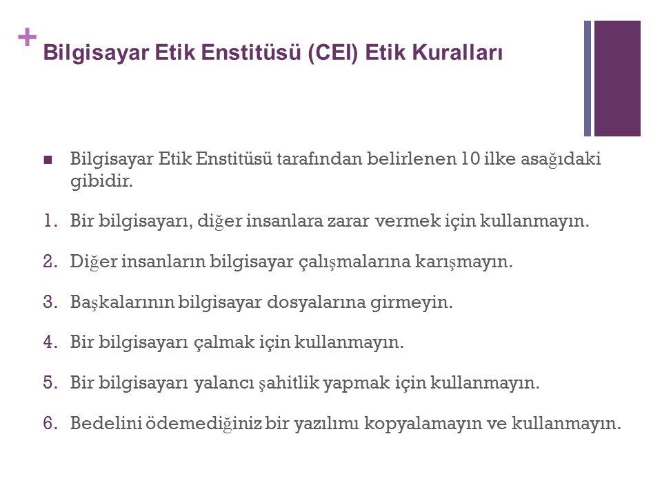 Bilgisayar Etik Enstitüsü (CEI) Etik Kuralları