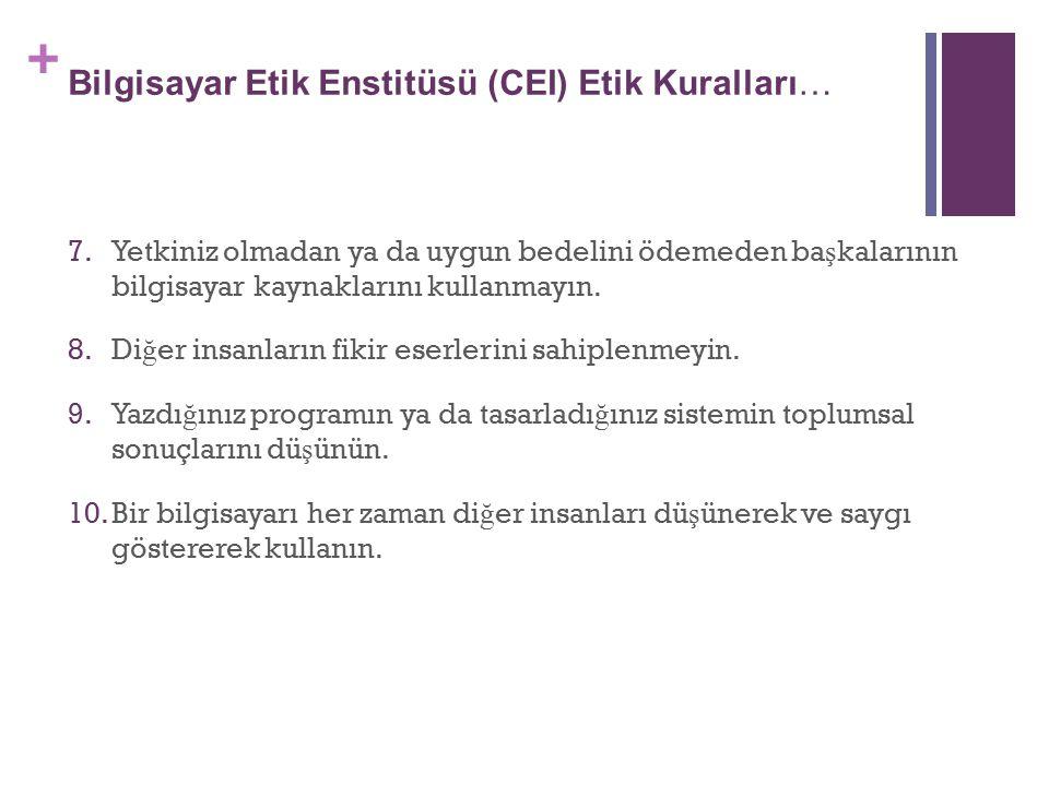 Bilgisayar Etik Enstitüsü (CEI) Etik Kuralları…