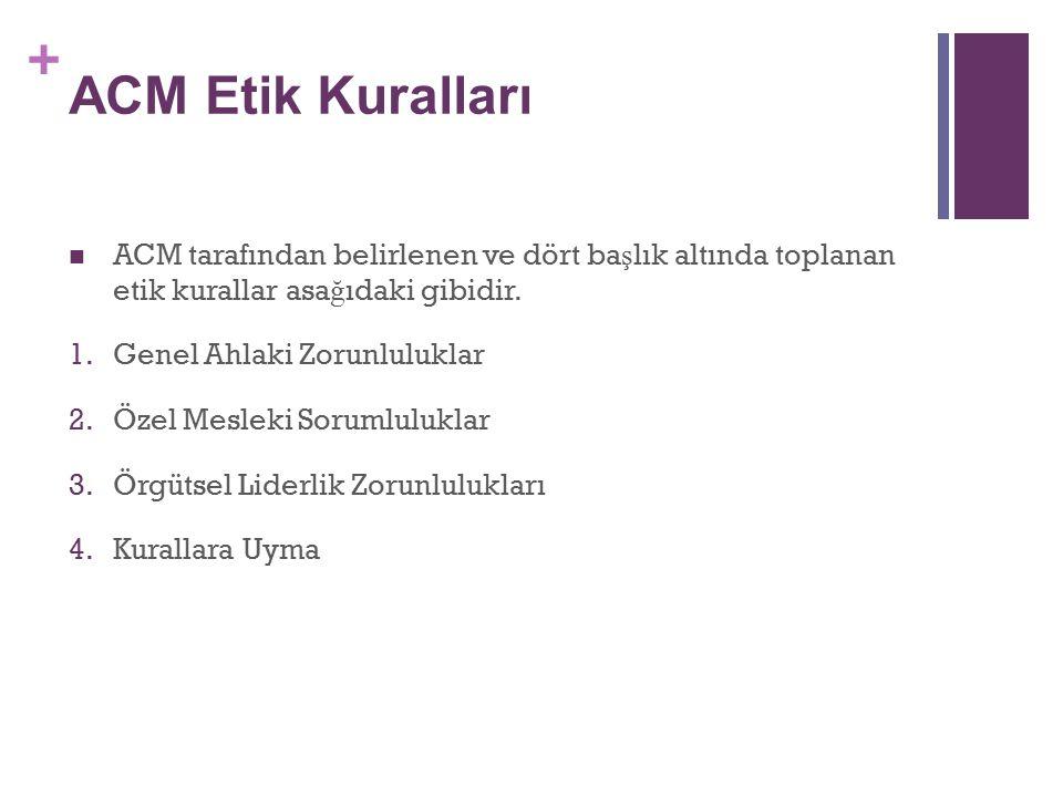 ACM Etik Kuralları ACM tarafından belirlenen ve dört başlık altında toplanan etik kurallar asağıdaki gibidir.