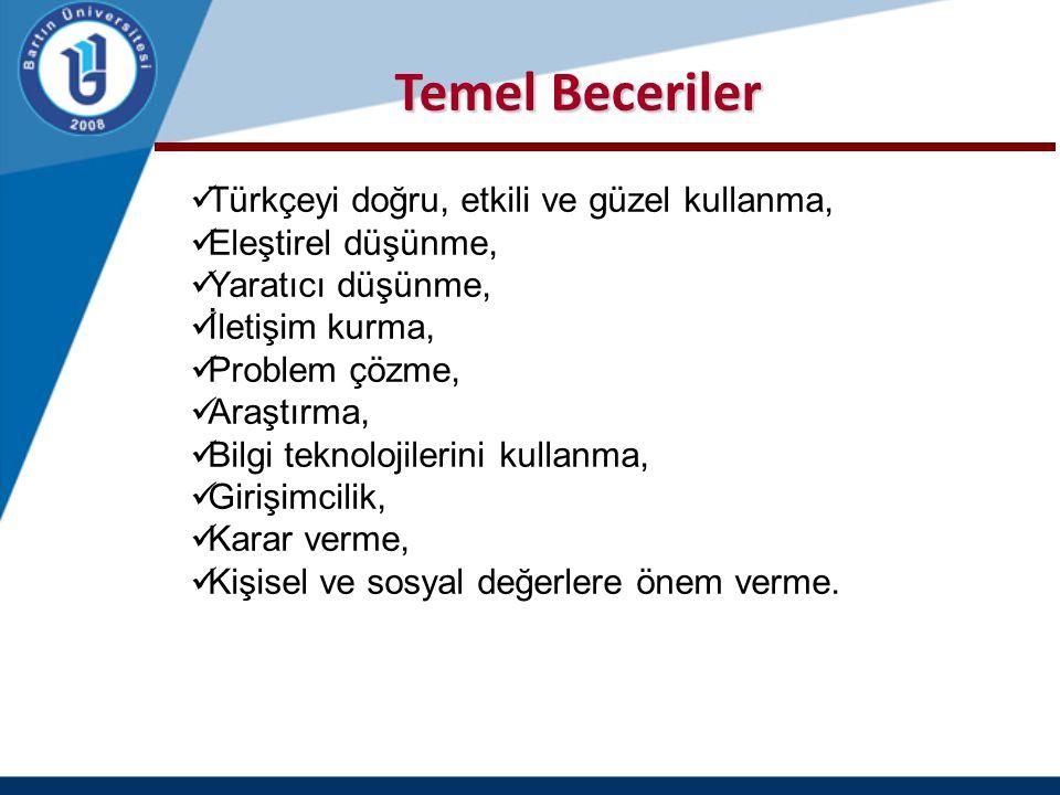 Temel Beceriler Türkçeyi doğru, etkili ve güzel kullanma,