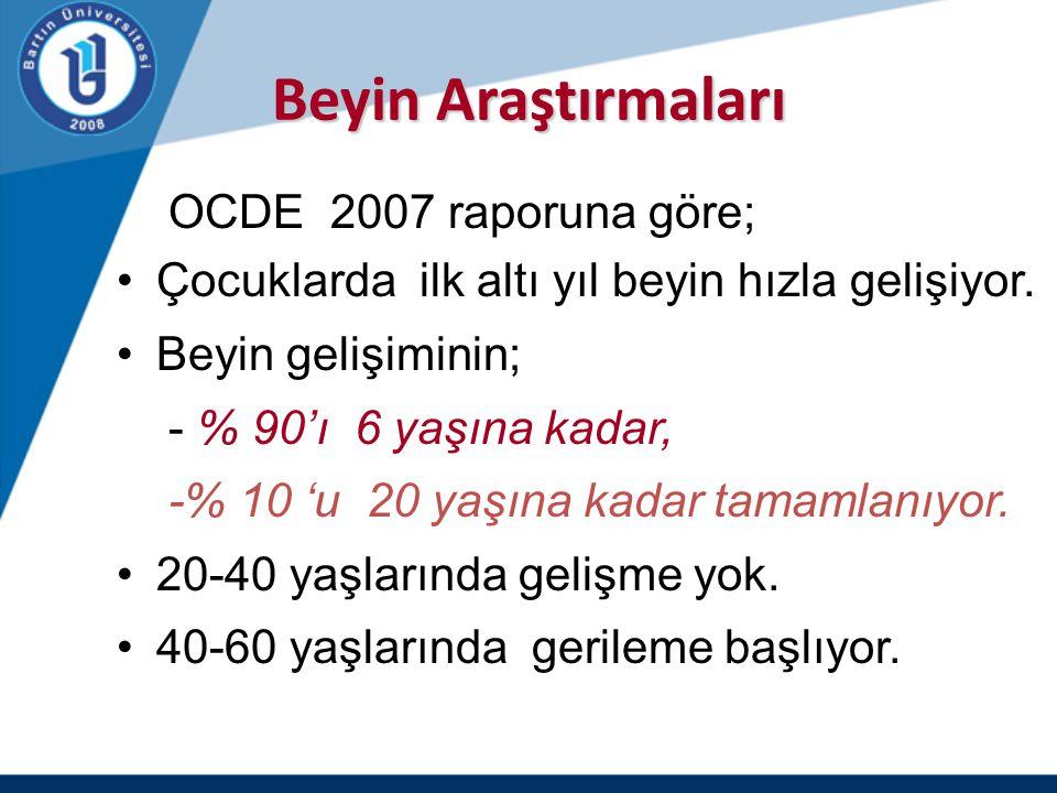 Beyin Araştırmaları OCDE 2007 raporuna göre;