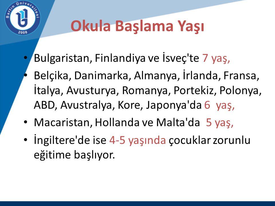 Okula Başlama Yaşı Bulgaristan, Finlandiya ve İsveç te 7 yaş,