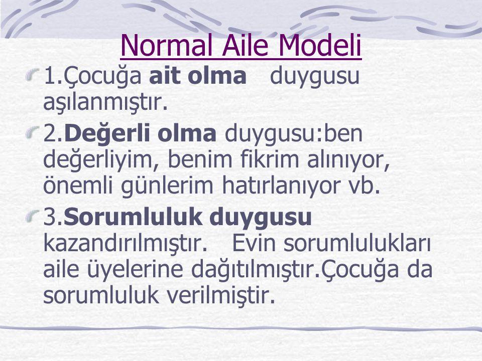 Normal Aile Modeli 1.Çocuğa ait olma duygusu aşılanmıştır.