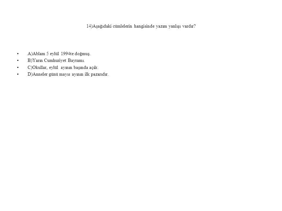 14)Aşağıdaki cümlelerin hangisinde yazım yanlışı vardır