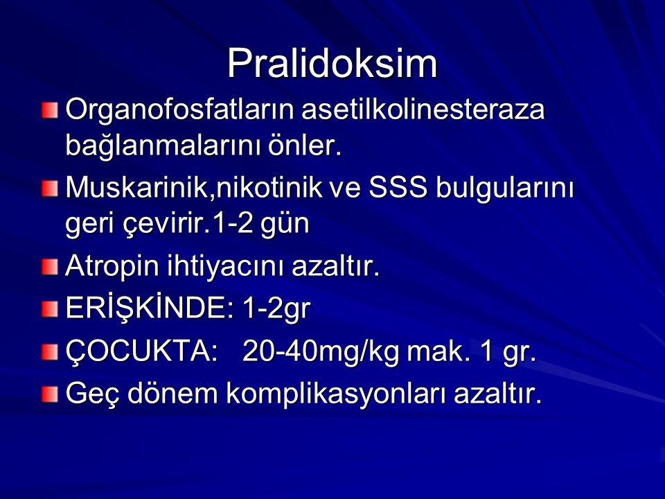 Pralidoksim Organofosfatların asetilkolinesteraza bağlanmalarını önler. Muskarinik,nikotinik ve SSS bulgularını geri çevirir.1-2 gün.