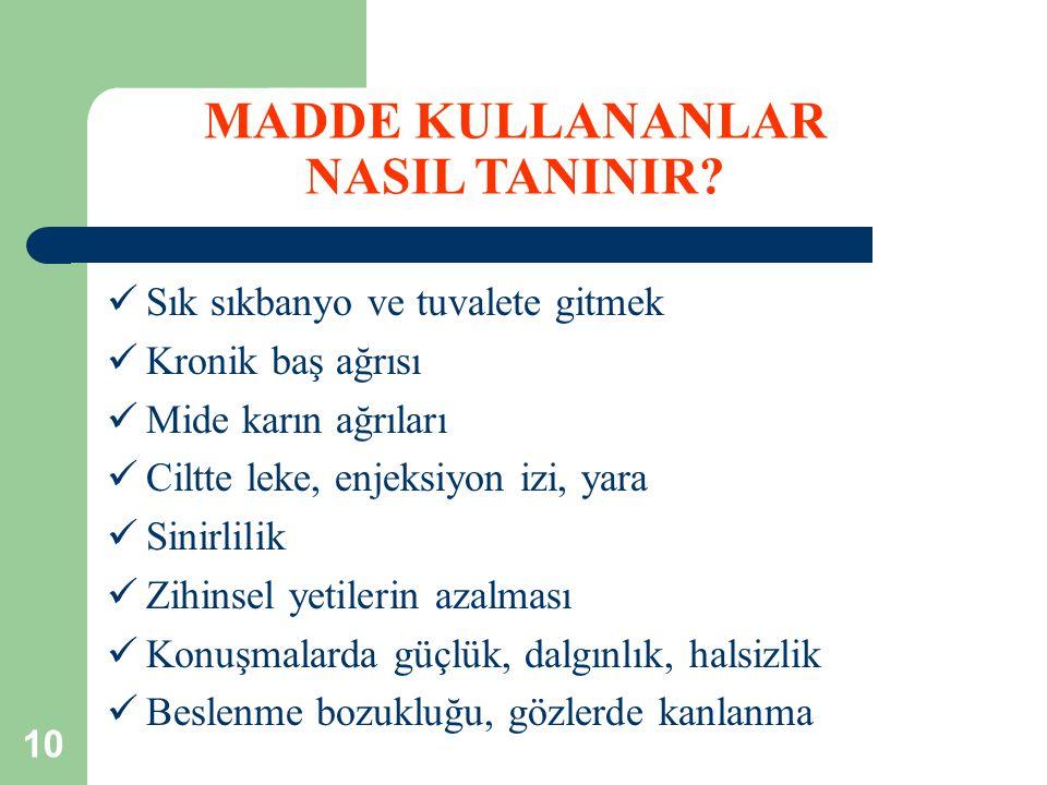 MADDE KULLANANLAR NASIL TANINIR