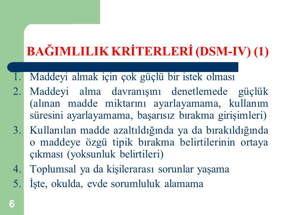 BAĞIMLILIK KRİTERLERİ (DSM-IV) (1)