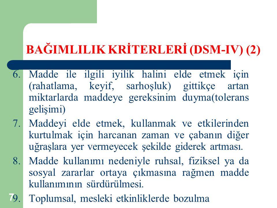 BAĞIMLILIK KRİTERLERİ (DSM-IV) (2)