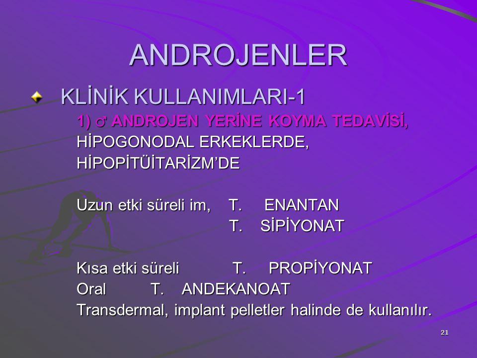 ANDROJENLER KLİNİK KULLANIMLARI-1 1) ♂ ANDROJEN YERİNE KOYMA TEDAVİSİ,