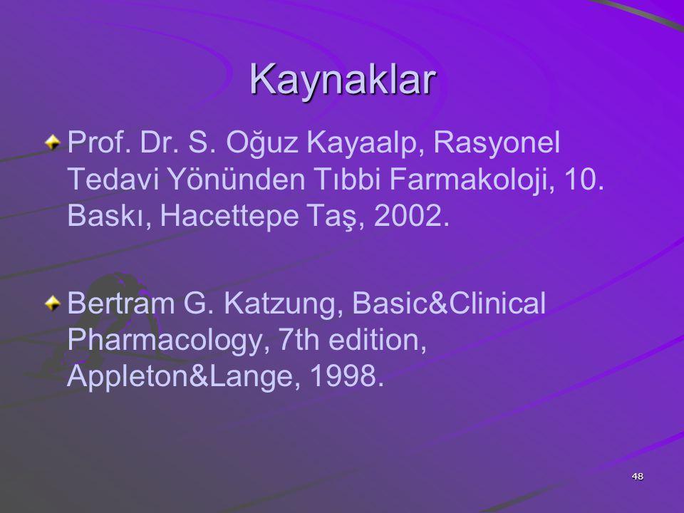 Kaynaklar Prof. Dr. S. Oğuz Kayaalp, Rasyonel Tedavi Yönünden Tıbbi Farmakoloji, 10. Baskı, Hacettepe Taş, 2002.