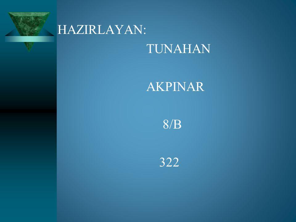 HAZIRLAYAN: TUNAHAN AKPINAR 8/B 322