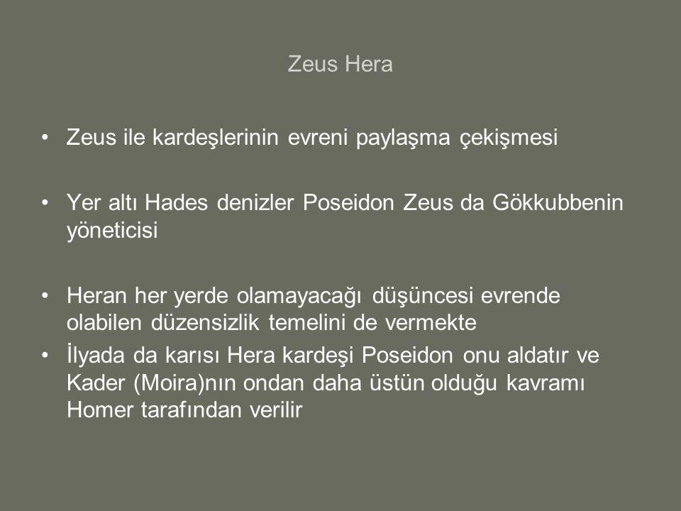 Zeus Hera Zeus ile kardeşlerinin evreni paylaşma çekişmesi. Yer altı Hades denizler Poseidon Zeus da Gökkubbenin yöneticisi.