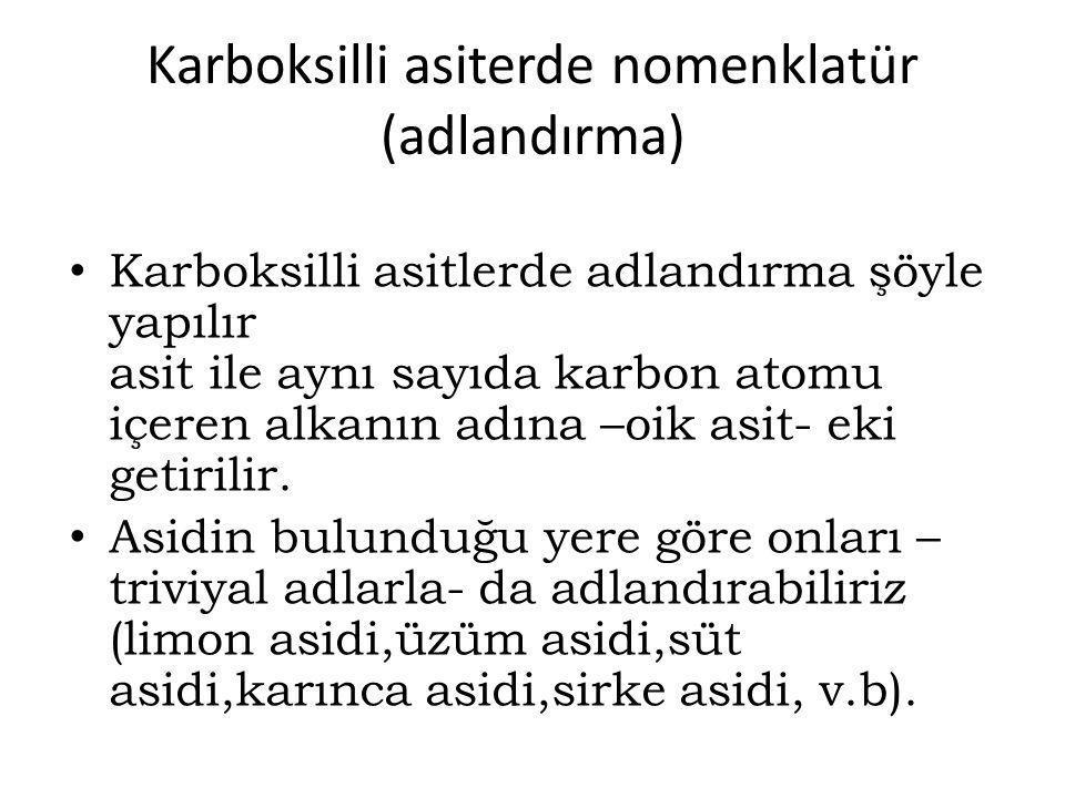 Karboksilli asiterde nomenklatür (adlandırma)