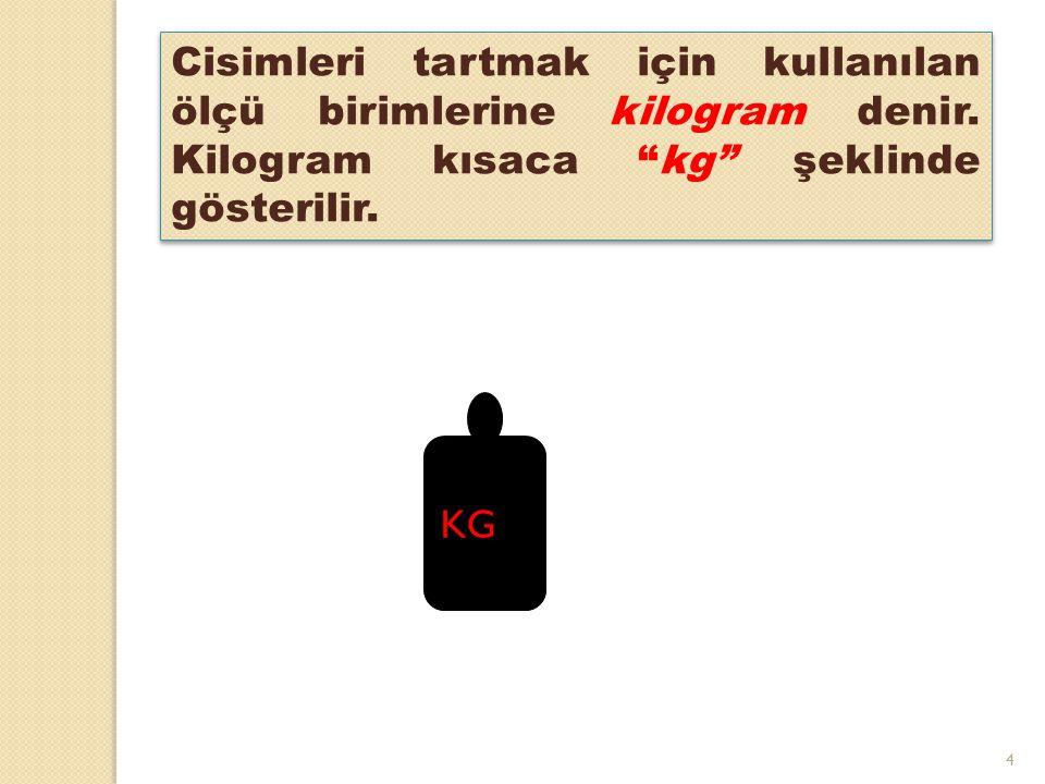 Cisimleri tartmak için kullanılan ölçü birimlerine kilogram denir