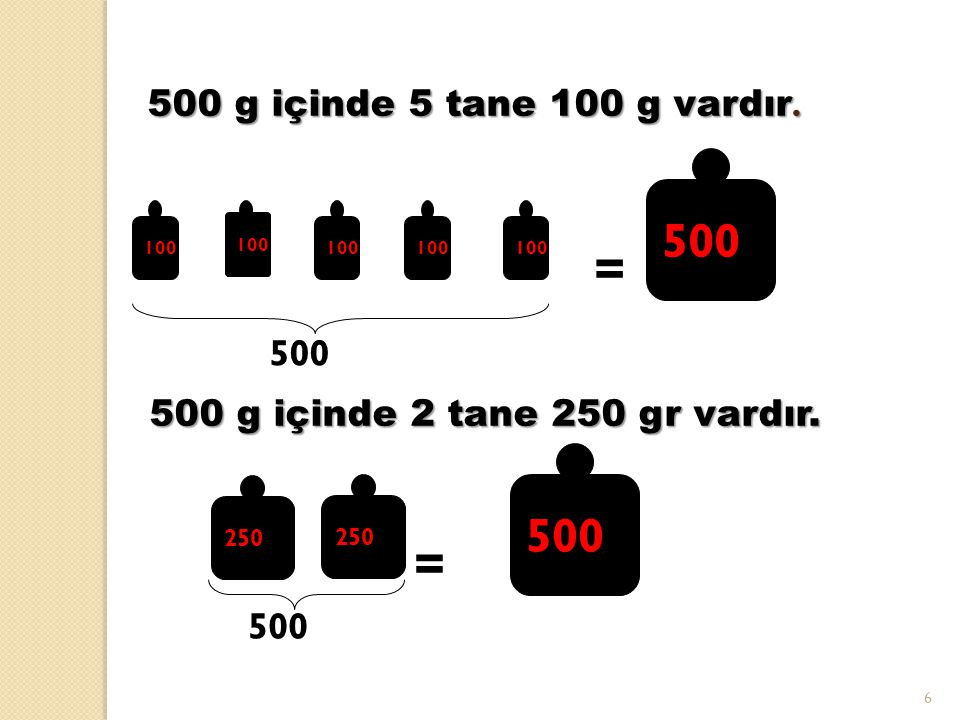 = = 500 500 500 g içinde 5 tane 100 g vardır. 500