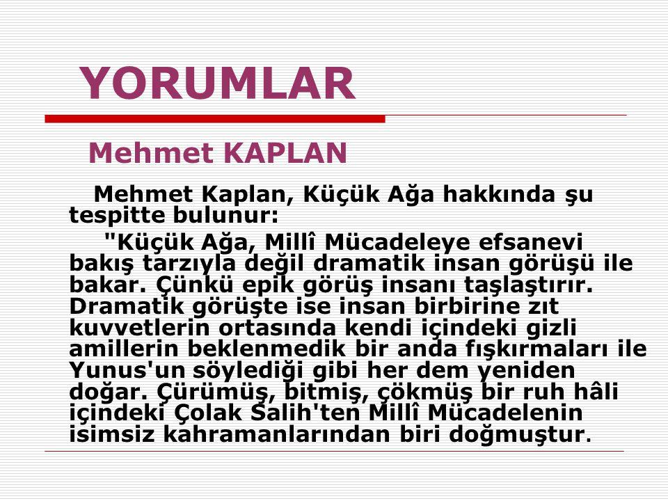YORUMLAR Mehmet KAPLAN. Mehmet Kaplan, Küçük Ağa hakkında şu tespitte bulunur: