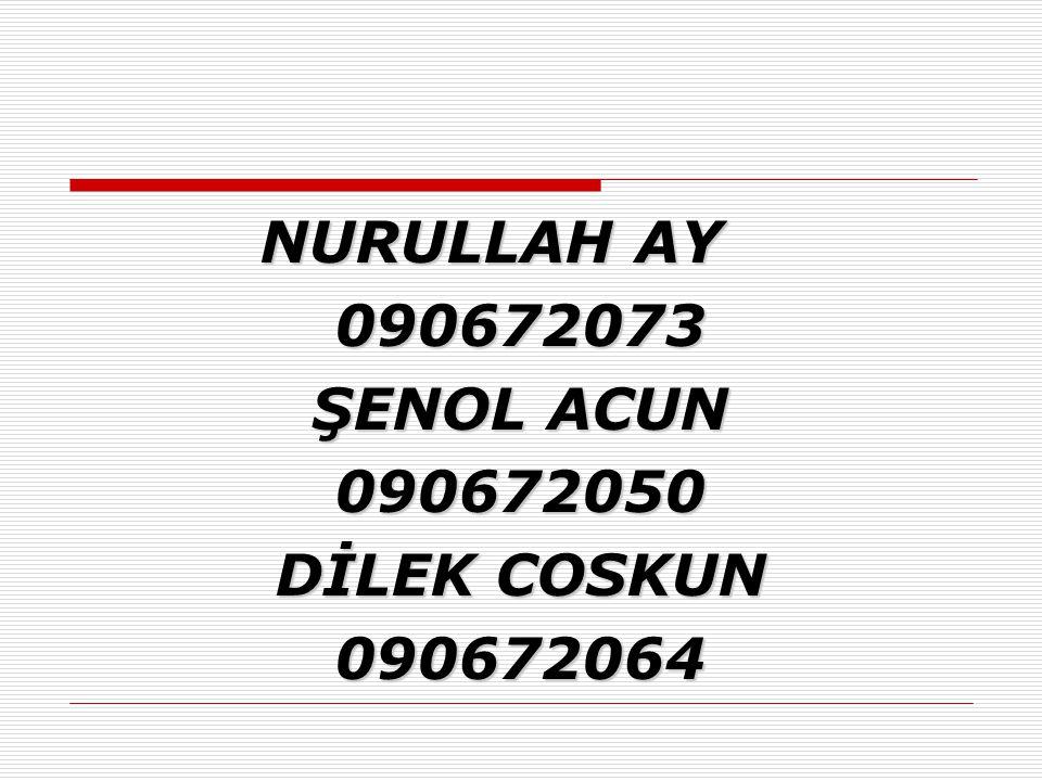 NURULLAH AY 090672073 ŞENOL ACUN 090672050 DİLEK COSKUN 090672064