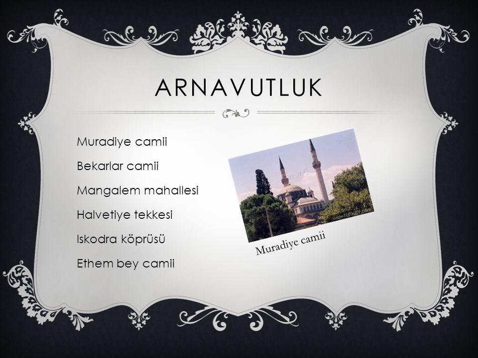 Arnavutluk Muradiye camii Bekarlar camii Mangalem mahallesi Halvetiye tekkesi Iskodra köprüsü Ethem bey camii