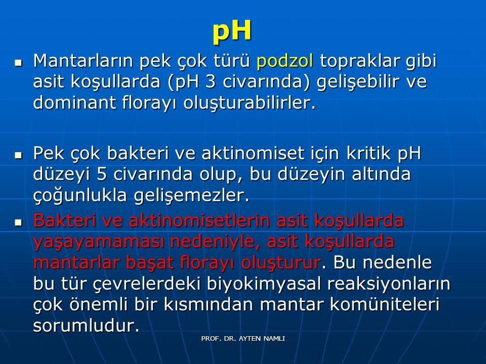 pH Mantarların pek çok türü podzol topraklar gibi asit koşullarda (pH 3 civarında) gelişebilir ve dominant florayı oluşturabilirler.