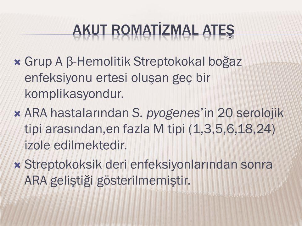 Akut romatİZMAL ATEŞ Grup A β-Hemolitik Streptokokal boğaz enfeksiyonu ertesi oluşan geç bir komplikasyondur.