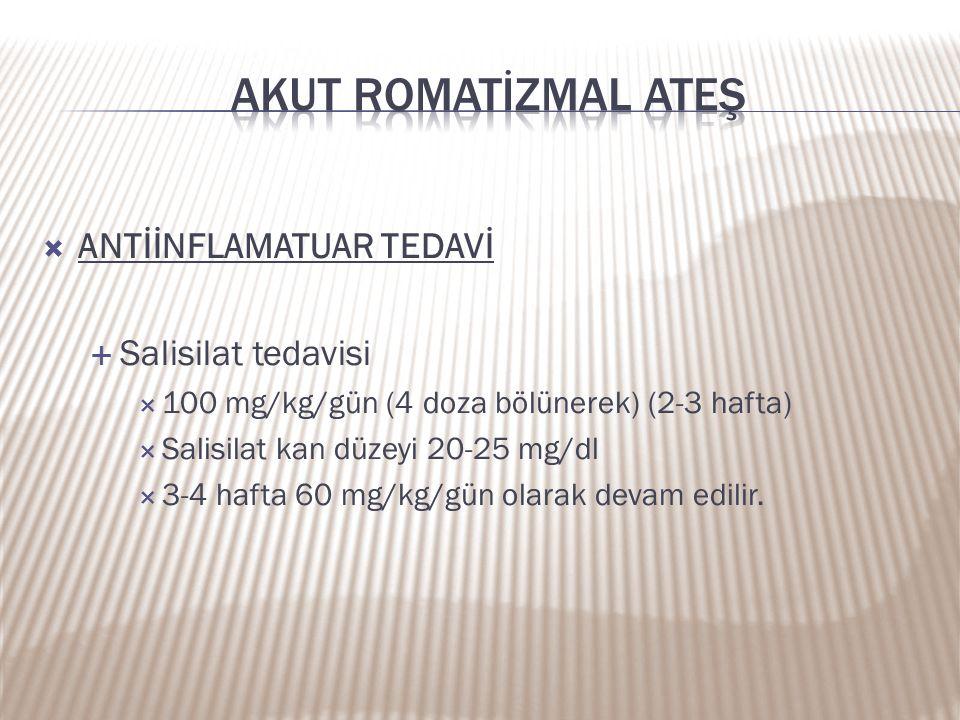 Akut romatİZMAL ATEŞ ANTİİNFLAMATUAR TEDAVİ Salisilat tedavisi