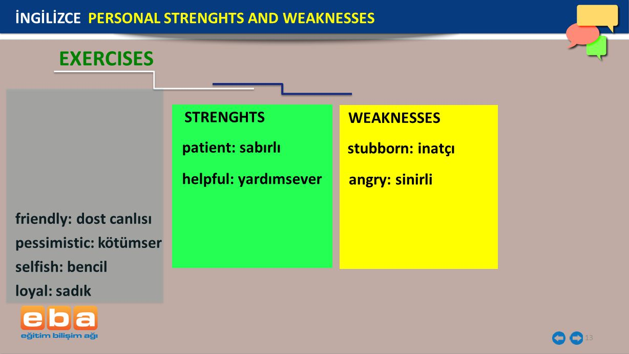 EXERCISES İNGİLİZCE PERSONAL STRENGHTS AND WEAKNESSES STRENGHTS