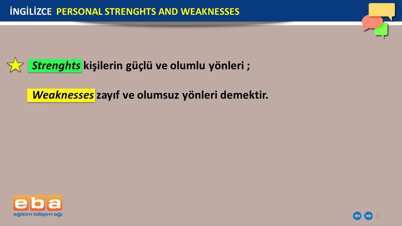 Strenghts kişilerin güçlü ve olumlu yönleri ;