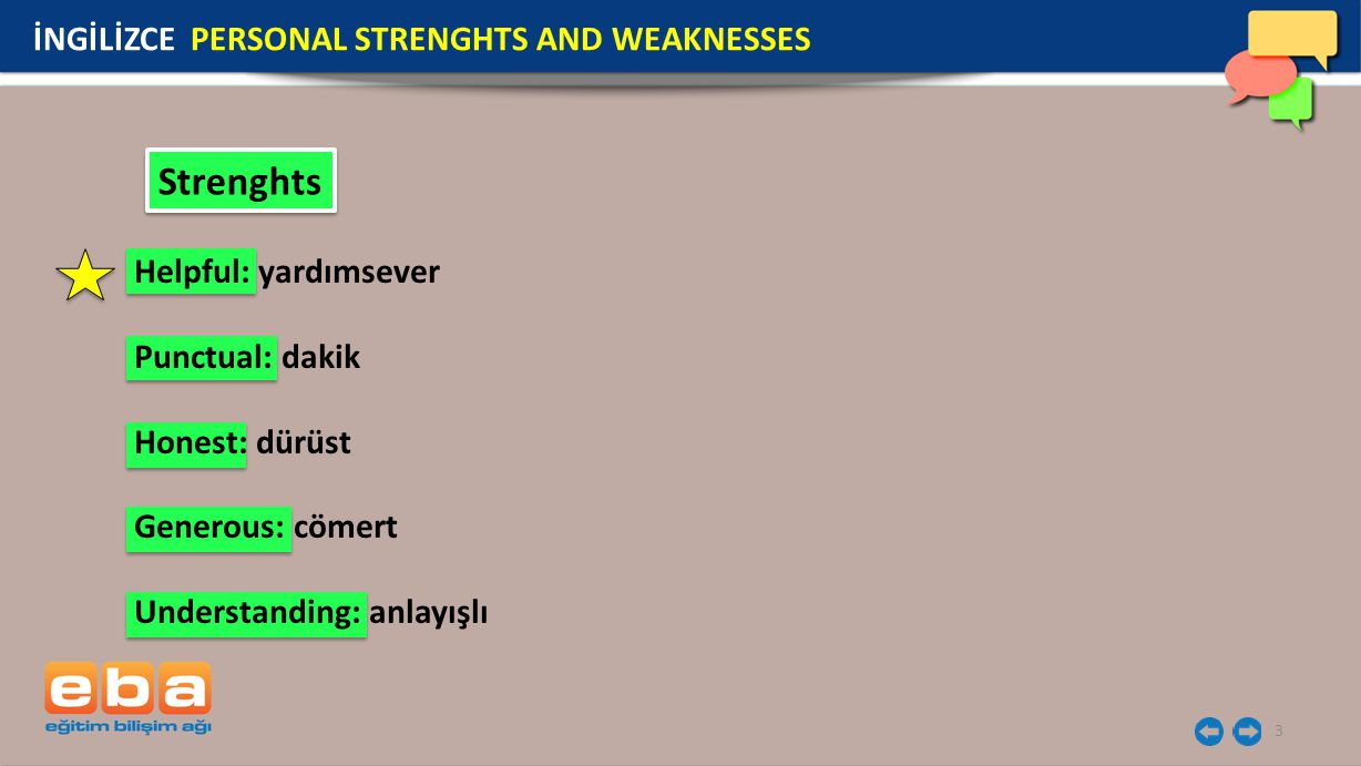 Strenghts İNGİLİZCE PERSONAL STRENGHTS AND WEAKNESSES