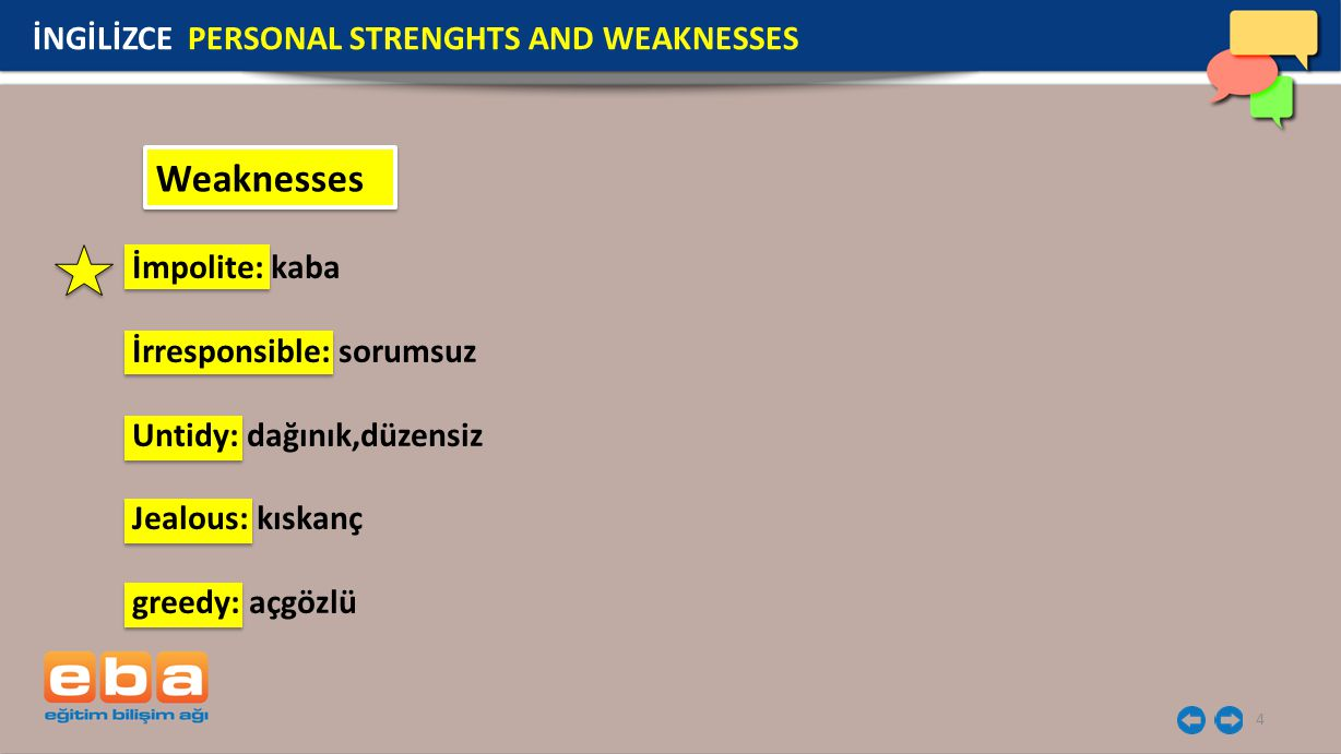 Weaknesses İNGİLİZCE PERSONAL STRENGHTS AND WEAKNESSES İmpolite: kaba