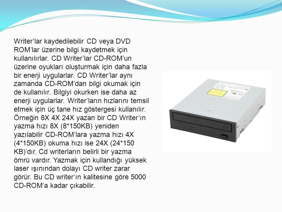 Writer'lar kaydedilebilir CD veya DVD ROM'lar üzerine bilgi kaydetmek için kullanılırlar.