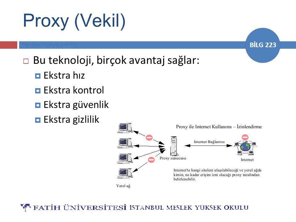 Proxy (Vekil) Bu teknoloji, birçok avantaj sağlar: Ekstra hız