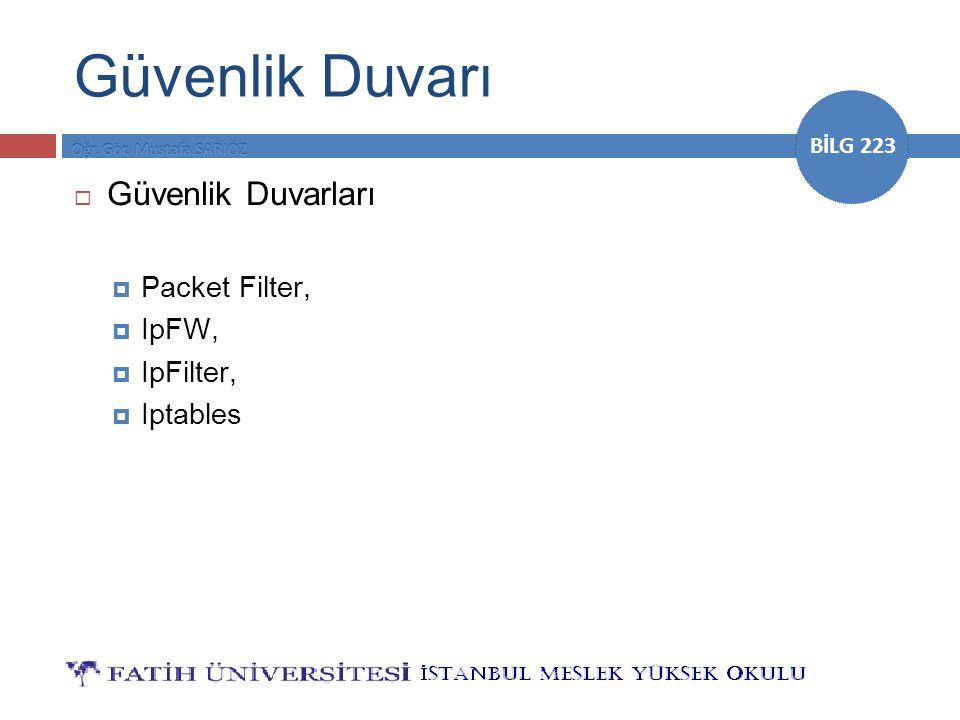 Güvenlik Duvarı Güvenlik Duvarları Packet Filter, IpFW, IpFilter,