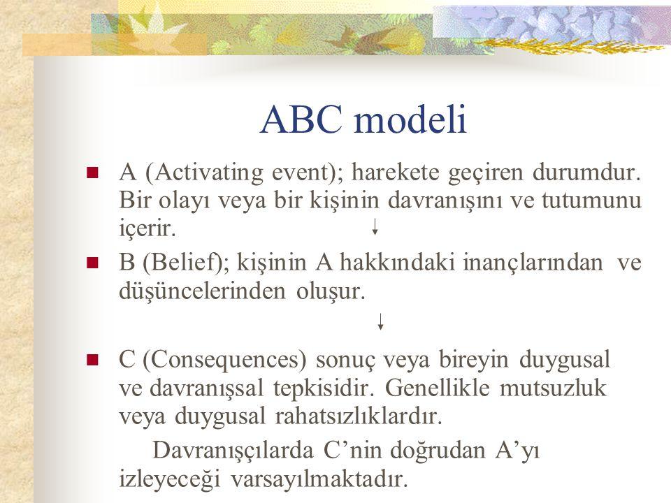ABC modeli A (Activating event); harekete geçiren durumdur. Bir olayı veya bir kişinin davranışını ve tutumunu içerir.