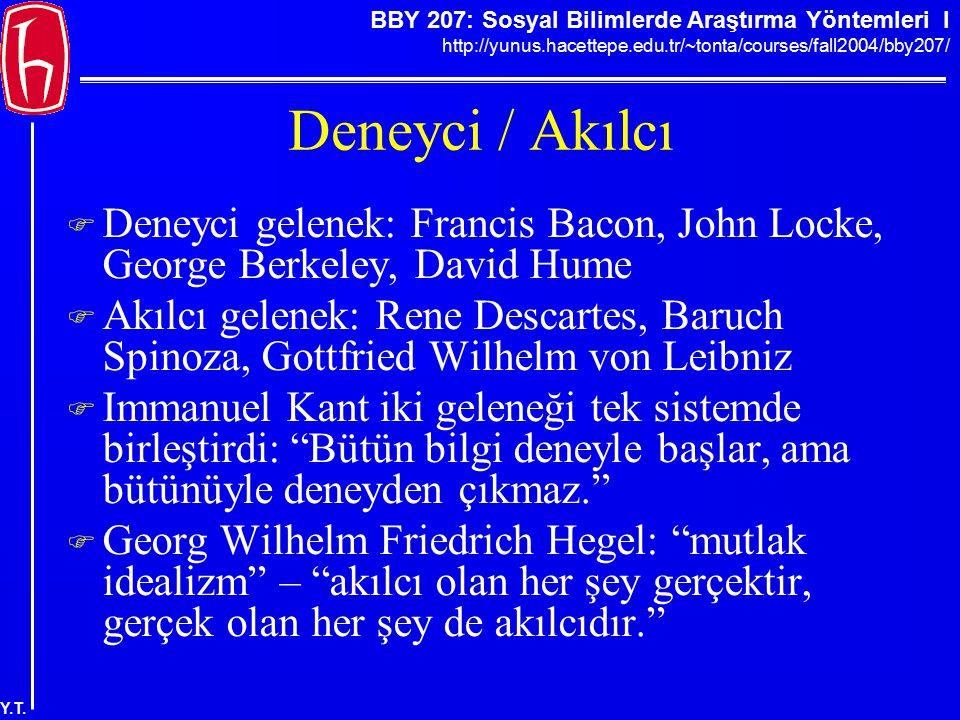 Deneyci / Akılcı Deneyci gelenek: Francis Bacon, John Locke, George Berkeley, David Hume.