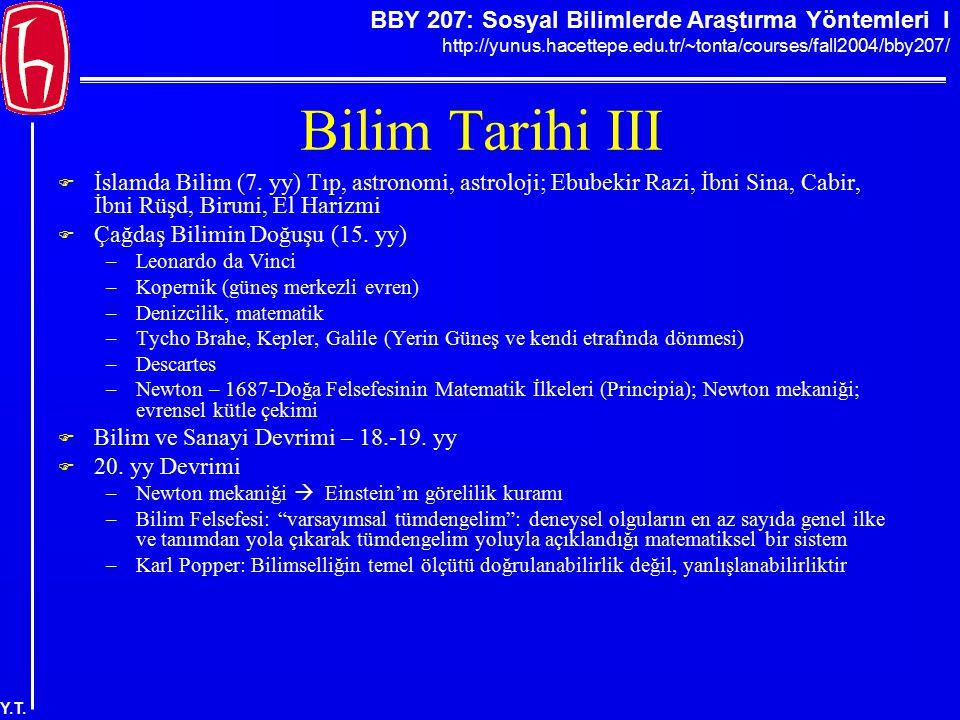 Bilim Tarihi III İslamda Bilim (7. yy) Tıp, astronomi, astroloji; Ebubekir Razi, İbni Sina, Cabir, İbni Rüşd, Biruni, El Harizmi.