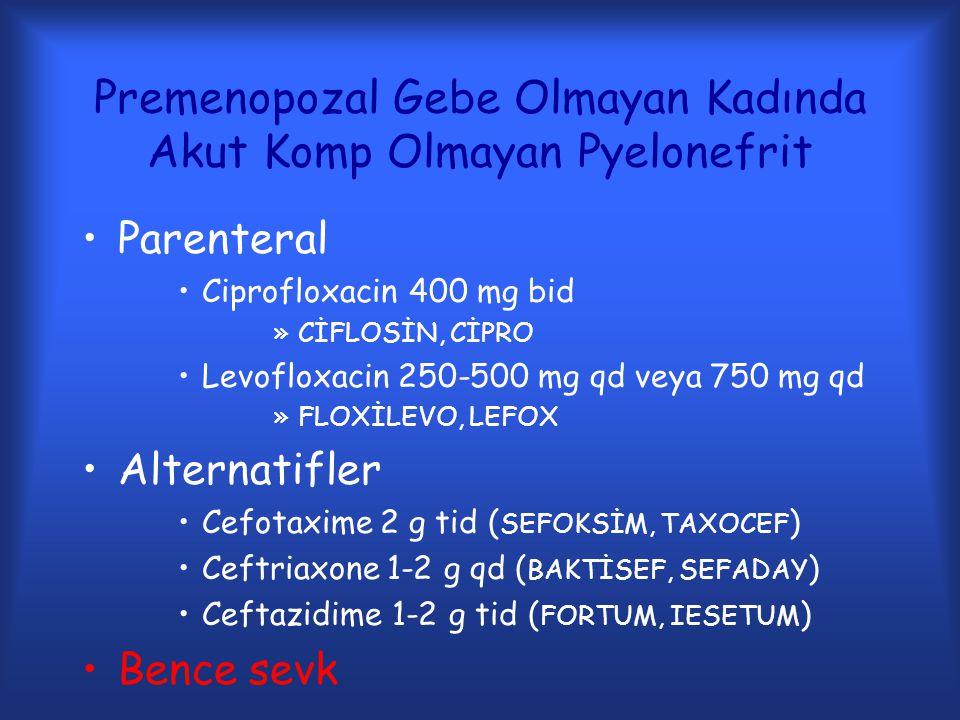 Premenopozal Gebe Olmayan Kadında Akut Komp Olmayan Pyelonefrit