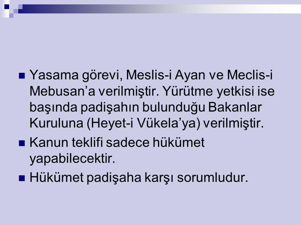 Yasama görevi, Meslis-i Ayan ve Meclis-i Mebusan'a verilmiştir