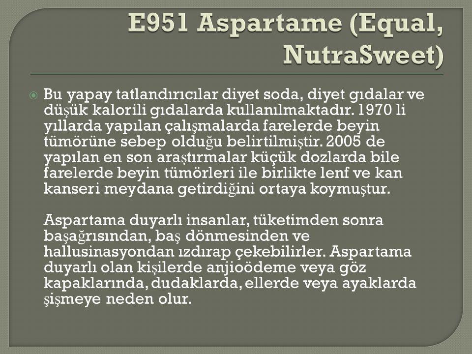 E951 Aspartame (Equal, NutraSweet)