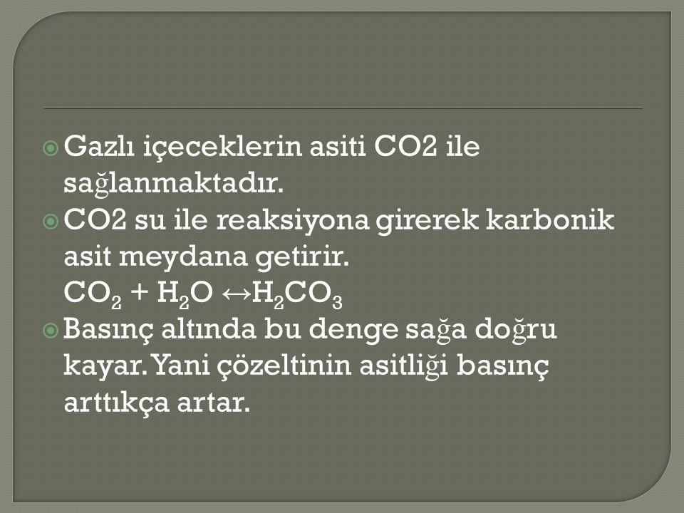 Gazlı içeceklerin asiti CO2 ile sağlanmaktadır.