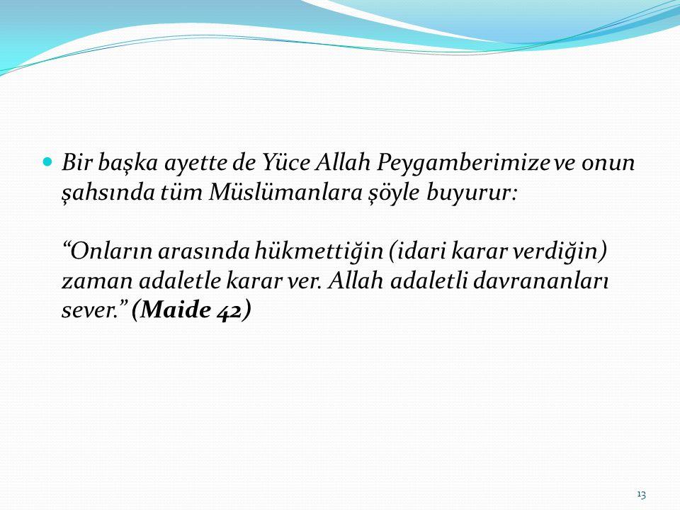 Bir başka ayette de Yüce Allah Peygamberimize ve onun şahsında tüm Müslümanlara şöyle buyurur: Onların arasında hükmettiğin (idari karar verdiğin) zaman adaletle karar ver.