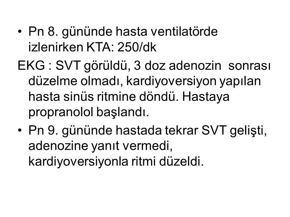 Pn 8. gününde hasta ventilatörde izlenirken KTA: 250/dk