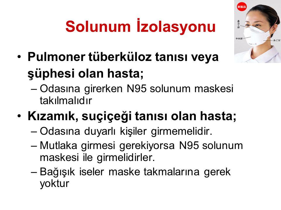 Solunum İzolasyonu Pulmoner tüberküloz tanısı veya şüphesi olan hasta;