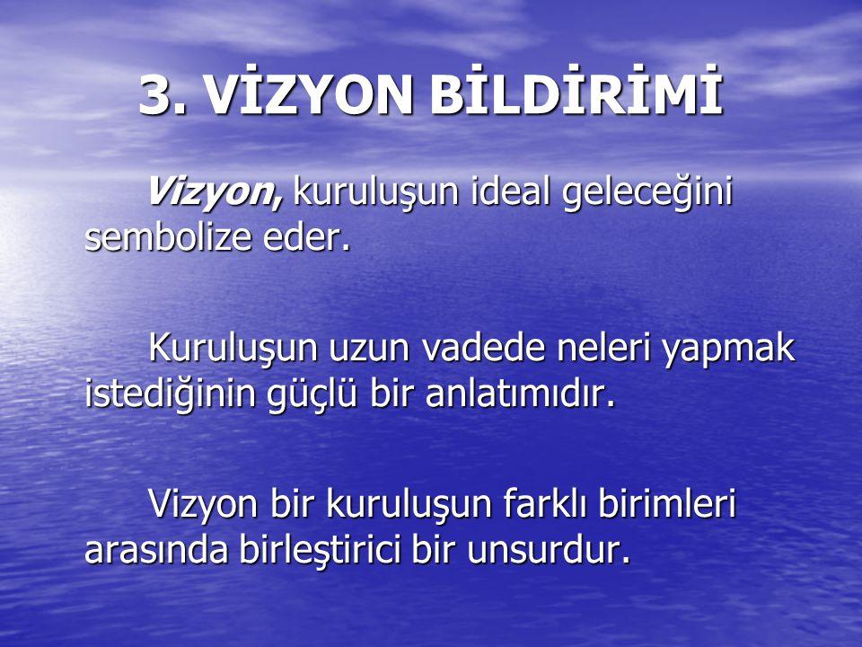 3. VİZYON BİLDİRİMİ Vizyon, kuruluşun ideal geleceğini sembolize eder.