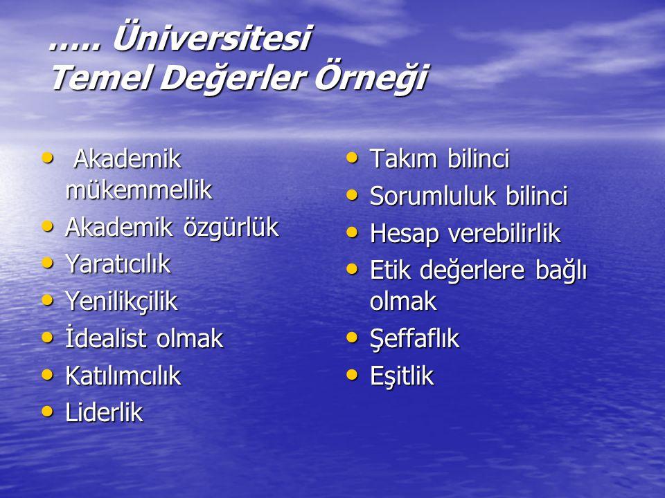 ….. Üniversitesi Temel Değerler Örneği