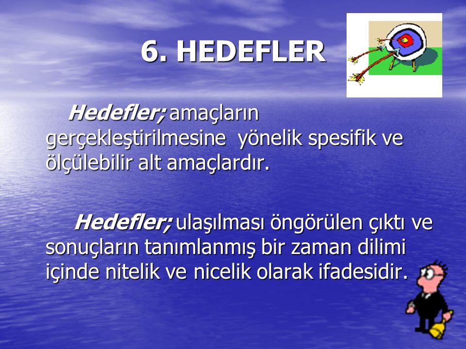 6. HEDEFLER Hedefler; amaçların gerçekleştirilmesine yönelik spesifik ve ölçülebilir alt amaçlardır.