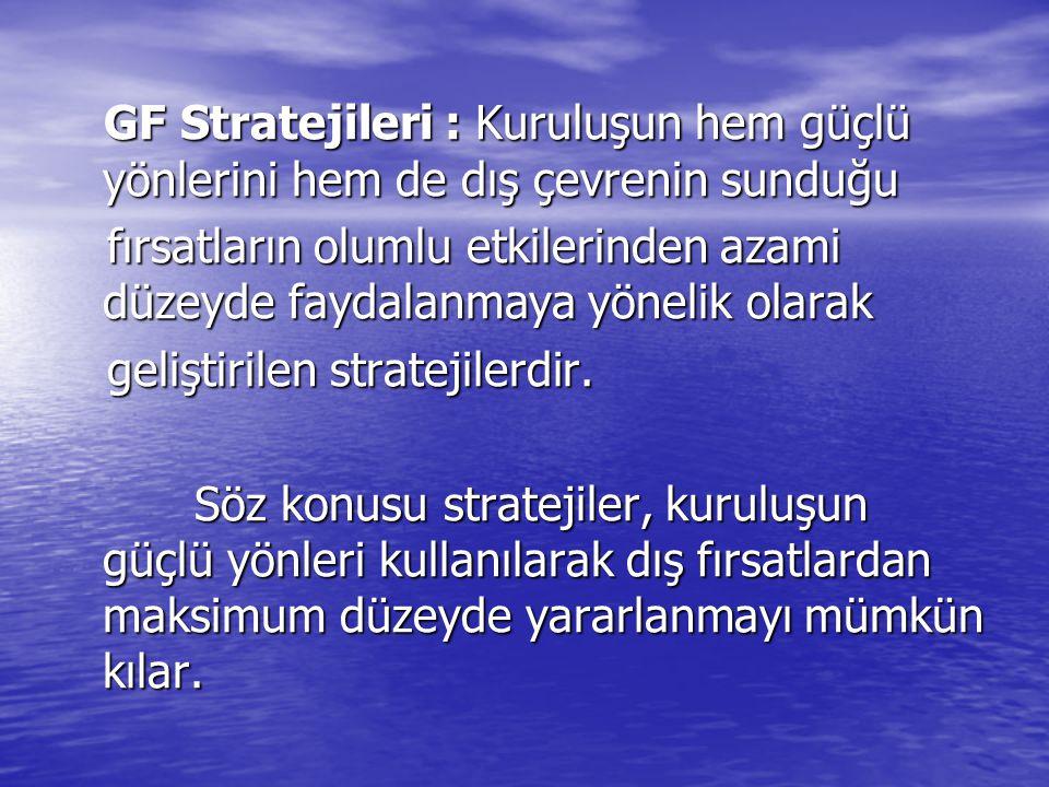 GF Stratejileri : Kuruluşun hem güçlü yönlerini hem de dış çevrenin sunduğu