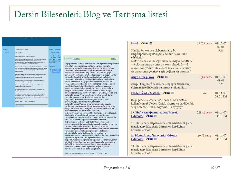 Dersin Bileşenleri: Blog ve Tartışma listesi