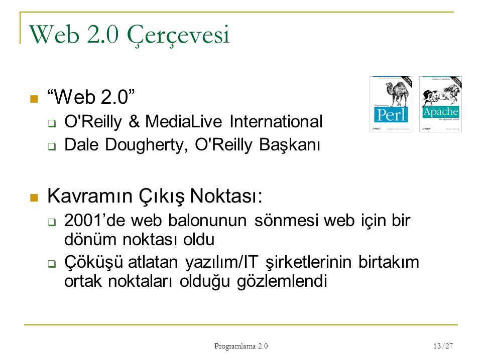 Web 2.0 Çerçevesi Web 2.0 Kavramın Çıkış Noktası: